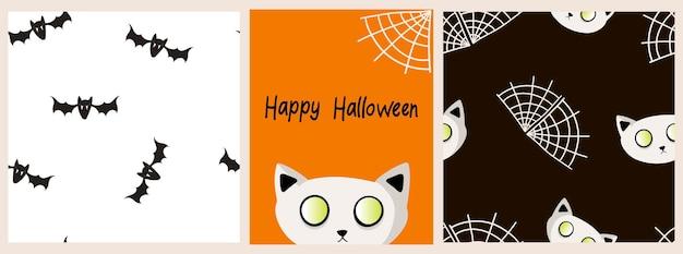 Vectorreeks patronen en banner voor halloween met pompoen, spoken, gelukkige halloween-inschrijvingen