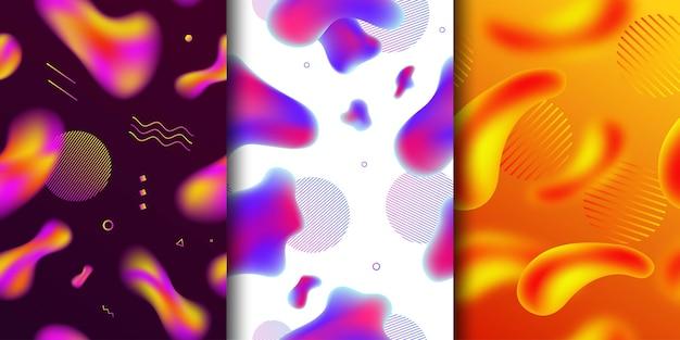 Vectorreeks realistisch geïsoleerd naadloos patroon van abstracte vloeibare vloeibare vormen van de lavalamp