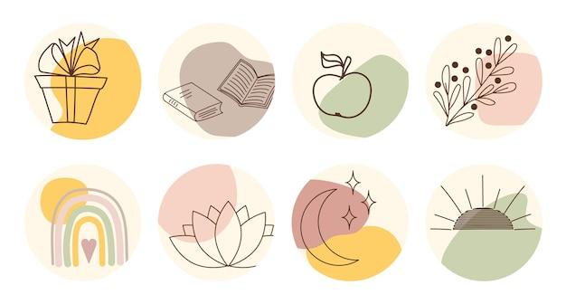 Vectorreeks ronde bohopictogrammen en emblemen voor het hoogtepuntdekking van het sociale mediaverhaal. handgetekende trendy ontwerpsjablonen voor bloggers, ontwerpers en fotografen.