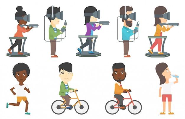 Vectorreeks sportmannen en mensen in vrhoofdtelefoon.