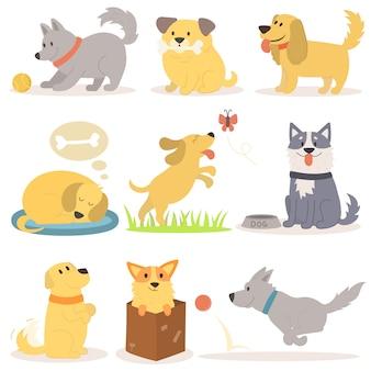 Vectorreeks van de grappige illustratie van beeldverhaalhonden in vlakke stijl