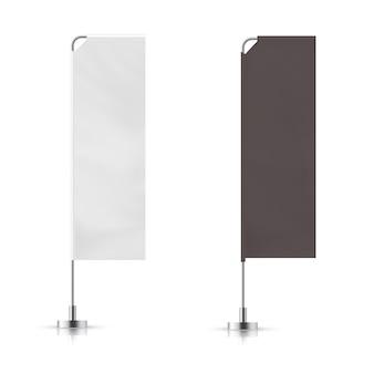 Vectorreeks van de zwart-witte golvende vlag van de reclamebanner. vector mock-up.