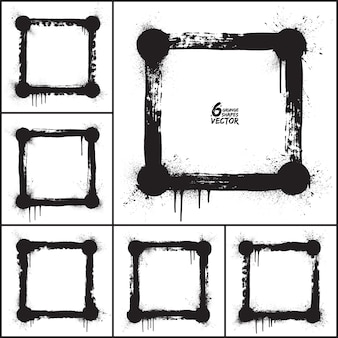 Vectorreeks van grunge de abstracte vierkante vormen. vector grunge frames