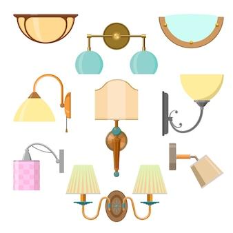 Vectorreeks van huislicht in vlakke stijl. illustratie met geïsoleerde lampen