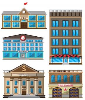 Vectorreeks vlakke gebouwen decoratieve pictogrammen
