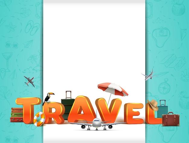 Vectorreis rond de wereldbanner met 3d-letters en realistische reiselementen