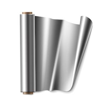 Vectorrol van aluminiumfolie close-up bovenaanzicht geïsoleerd op een witte achtergrond