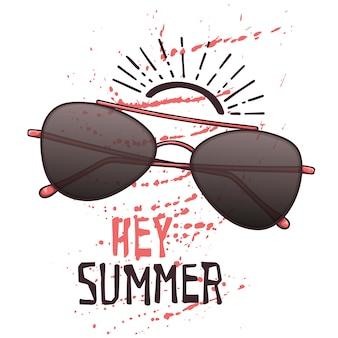 Vectorschetszonnebril in uitstekende stijl. belettering: hey zomer.