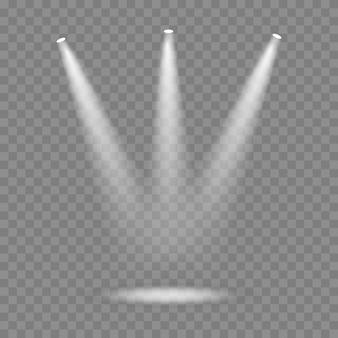 Vectorschijnwerper. lichteffect. gloed geïsoleerd wit transparant lichteffect. abstract speciaal effect element ontwerp.