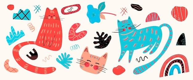 Vectorset met verschillende schattige katten en grafische elementen in de scandinavische stijl