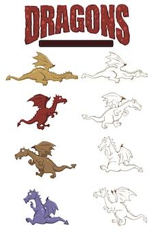 Vectorset van draken in kleur en lijntekeningen voor stickerpakket of kleurboek