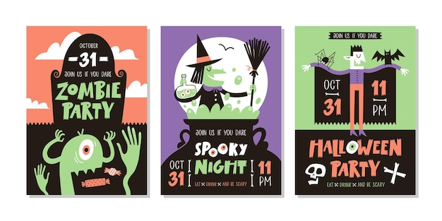 Vectorset van halloween-feestuitnodigingen of wenskaarten met handgeschreven tekst en traditionele sy