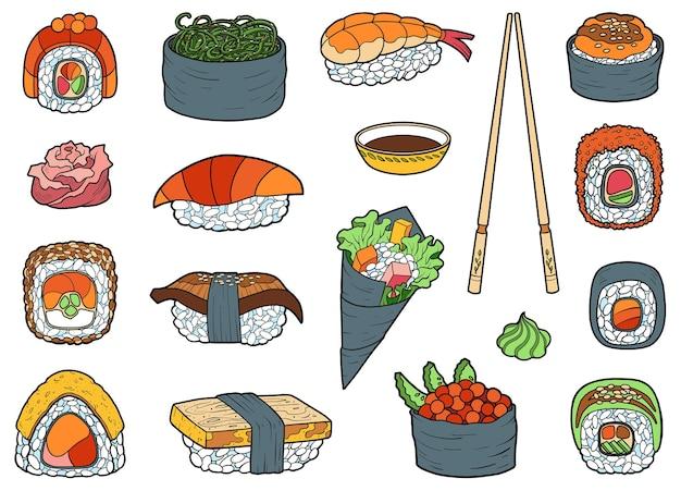 Vectorset van japans eten, kleurrijke verzameling cartoonsushi, sashimi en broodjes