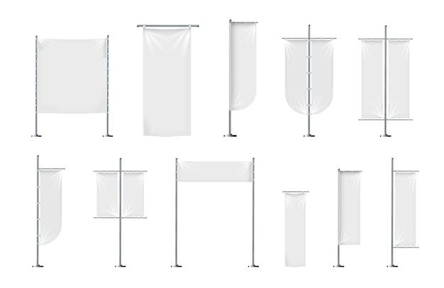 Vectorset van lege textielbanners of vlaggen in verschillende vormen voor marketingreclame voor merkpromotie...