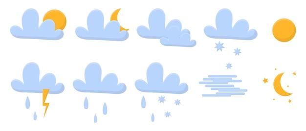 Vectorset van p weerpictogrammenweerpictogrammenpakket bevat pictogrammen van de sneeuwvlokken van de zonwolken