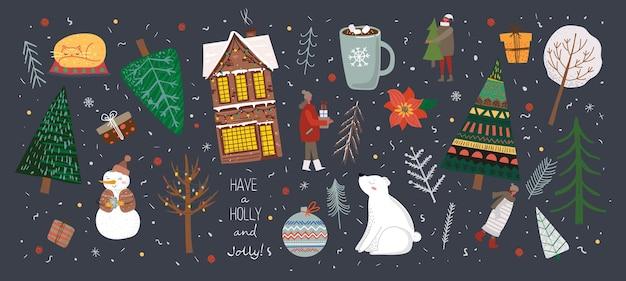 Vectorset van winterkerstbomen en sneeuwhuismensen dragen sneeuwpopkatten en cadeau voor het maken
