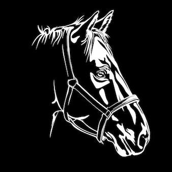 Vectorsilhouet van het hoofd van het paard van het paard op zwarte background