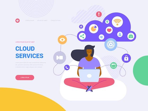 Vectorsjabloon voor bestemmingspagina's voor cloudservices. draadloze technologie website homepage interface idee met platte illustraties. gegevens opslag. cloud computing, webbanner cartoon concept voor netwerken