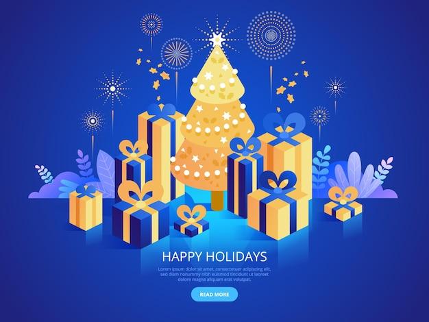 Vectorsjabloon voor bestemmingspagina voor kerstviering. fijne feestdagen website homepage interface idee met isometrische illustraties. traditioneel december-evenement, nieuwjaarsfeest webbanner 3d-concept