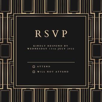 Vectorsjabloon voor huwelijksuitnodiging voor post op sociale media met geometrische art-decostijl