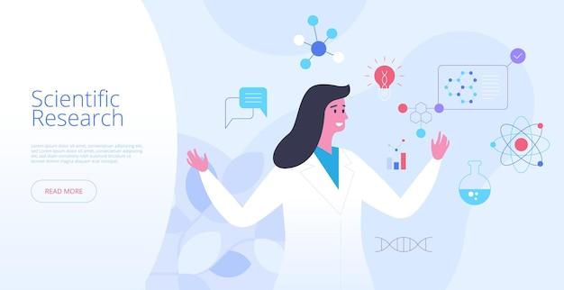 Vectorsjabloon voor wetenschappelijk onderzoek bestemmingspagina. klinische studie website homepage interface idee met platte illustraties. laboratoriumexperiment, futuristisch biotechnologie webbanner cartoon concept