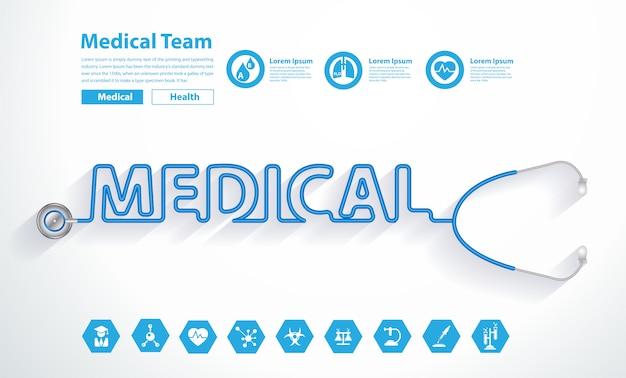 Vectorstethoscoophart met creatief medisch tekstontwerp