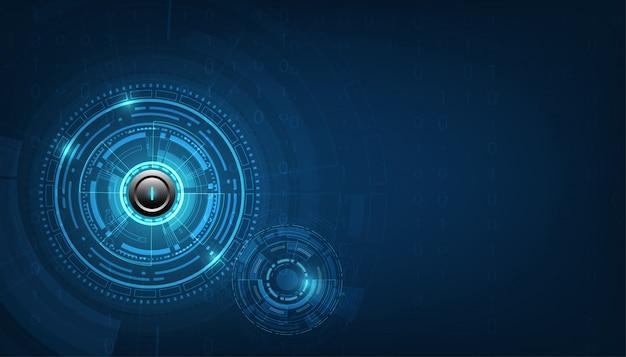 Vectortechnologie omcirkelt witte machtsknoop en technologieachtergrond.