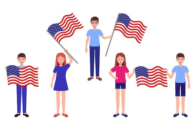 Vectortekenfilmreeks illustraties met jongens en meisjes die de amerikaanse vlag houden