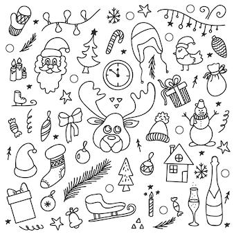 Vectortekening in de stijl van doodle nieuwjaarskerstset