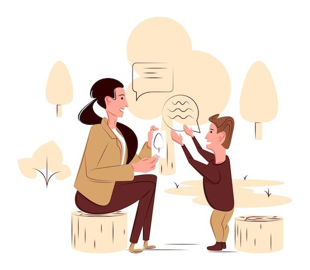Vectortherapeut met een kind in de schaduw van scherpe lijnenstijl