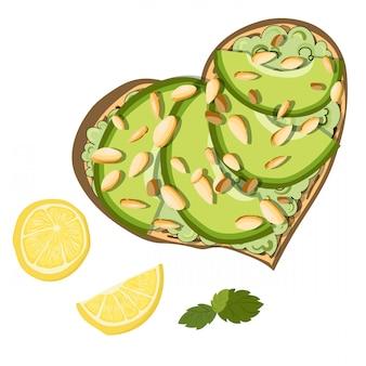 Vectortoost met avocado en citroen