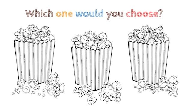 Vectortranken: notapopcorn, kaaspopcorn, chocolademelpcorn.