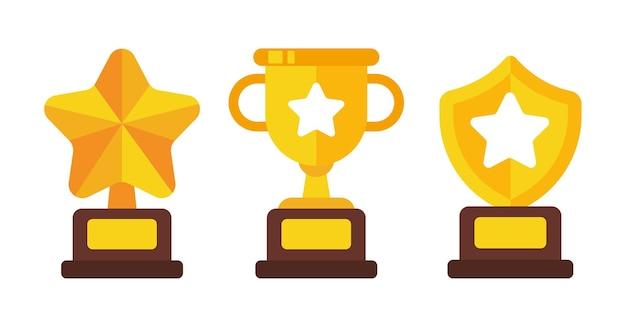 Vectortrofeeën van overwinning voor sportkampioenen succesconcept