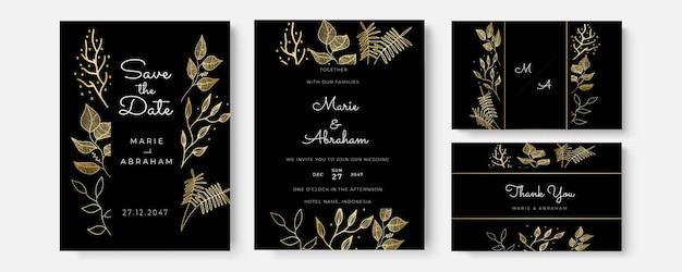 Vectoruitnodiging met gouden bloemenelementen. luxe sieraad sjabloon. wenskaart, uitnodiging ontwerp achtergrond