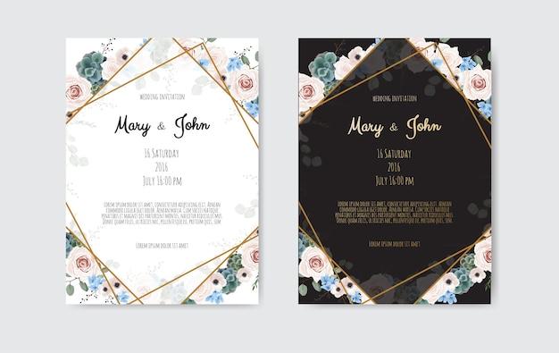 Vectoruitnodiging met met de hand gemaakte bloemenelementen. bruiloft uitnodigingskaarten met florale elementen