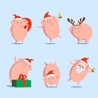 Vectorvarken, symbool van chinees nieuw jaar, kerstmis, op geïsoleerde achtergrond.