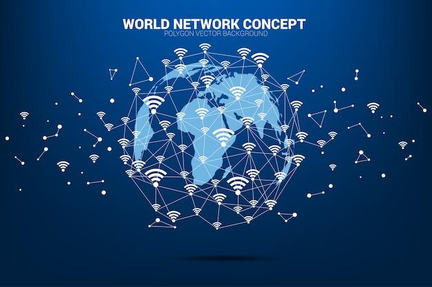 Vectorveelhoeklijn verbindt mobiele gegevens en wi-fi pictogramsignage vormt de wereldkaart.