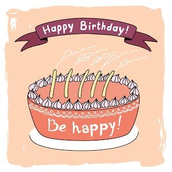 Vectorverjaardagsillustratie met cvectorverjaardagsillustratie met cake en kaarsen. wees vrolijk!