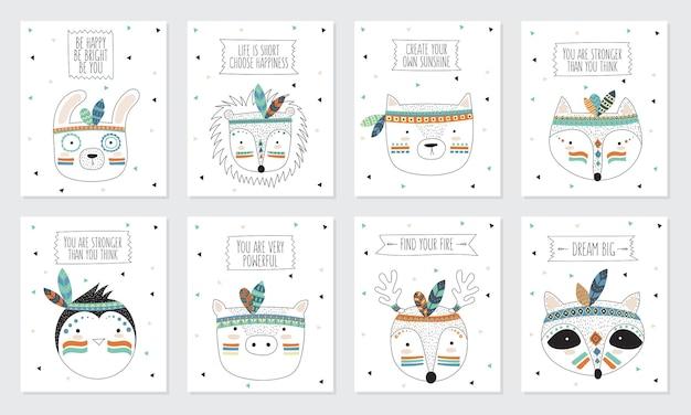 Vectorverzameling ansichtkaarten met gezichten van indiase stamdieren met motiverende slogan
