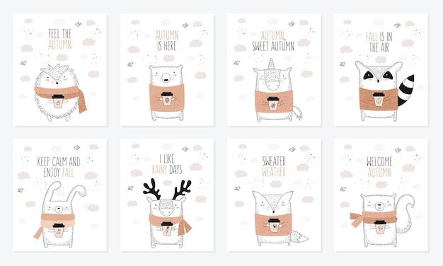 Vectorverzameling ansichtkaarten met lijntekeningdier in trui en slogan over de herfst