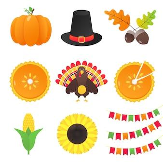 Vectorverzameling herfstelementen en thanksgiving day-dingen instellen vlakke stijlontwerpgradiënt
