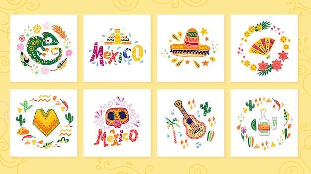 Vectorverzameling kaarten met traditionele decoratie mexico-feest, carnaval, feest, fiesta-evenement in platte handgetekende stijl. tekst felicitatie, schedel, bloemenelementen, bloemblaadjes, dieren, cactussen.
