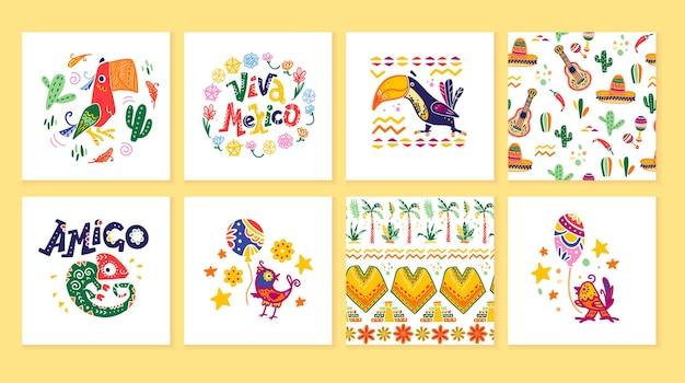 Vectorverzameling kaarten met traditionele decoratie voor mexico-feest, carnaval, feest, fiesta-evenement in platte handgetekende stijl. dieren, bloemenelementen, bloemblaadjes, cactussen, belettering, patronen.