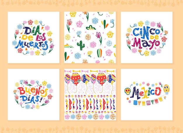 Vectorverzameling kaarten met traditionele decoratie voor mexico-feest, carnaval, feest, souvenirs, fiesta-evenement in platte handgetekende stijl. tekst felicitatie, schedel, bloemenelementen, cactussen.