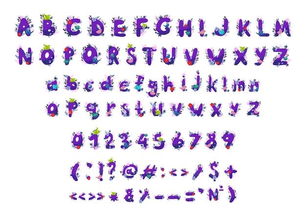 Vectorverzameling letters, cijfers en leestekens met bloemen en vogels