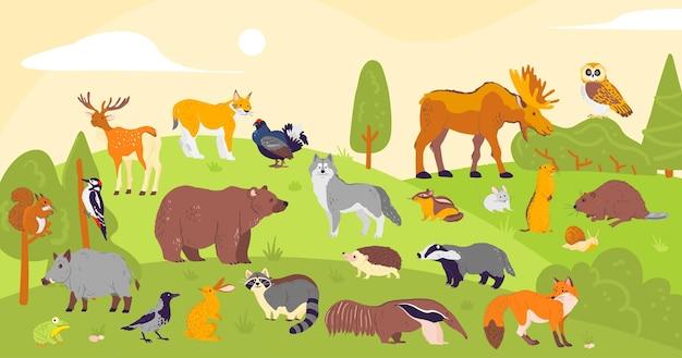 Vectorverzameling van bosdieren in vlakke eenvoudige stijl op boslandschapsachtergrond