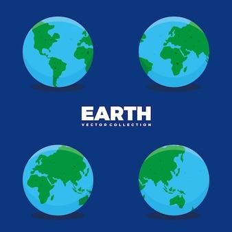Vectorverzameling van globe, aarde, azië, europa, amerika