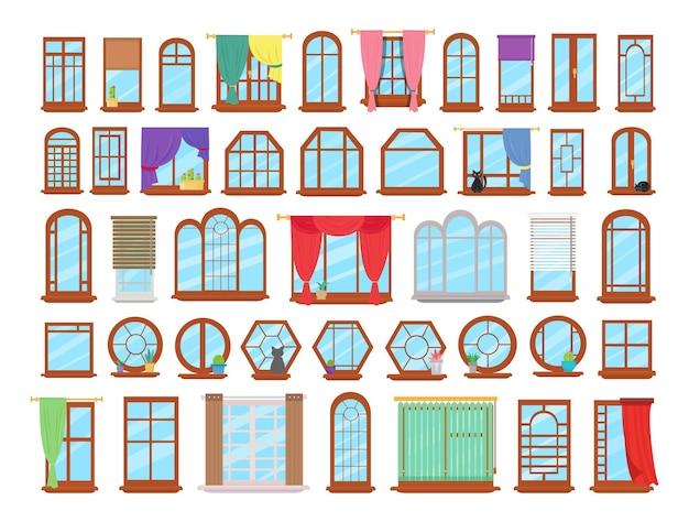 Vectorverzameling van kleurrijke vensters