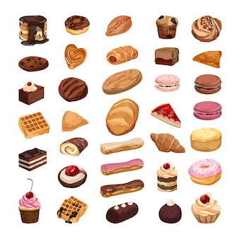Vectorverzameling van realistische cakes, gebakjes en andere zoetigheden. set van bakken.