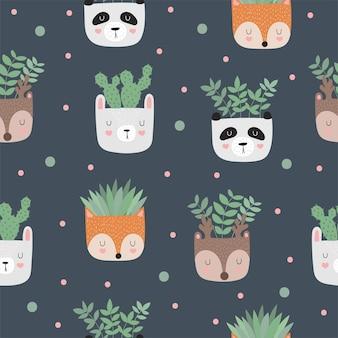 Vectorverzameling van schattige posters met kamerplanten in grappige dierenpotten
